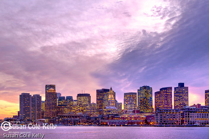Sunset over Boston Harbor, Boston, MA, USA