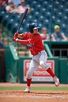 Lakewood BlueClaws third baseman Dalton Guthrie (5) at bat during a game against the Greensboro Grasshoppers on June 10, 2018 at First National Bank Field in Greensboro, North Carolina.  Lakewood defeated Greensboro 2-0.  (Mike Janes/Four Seam Images)