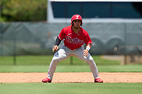 Philadelphia Phillies Edward Barboza (4) leading off during an Extended Spring Training game against the Toronto Blue Jays on June 12, 2021 at the Carpenter Complex in Clearwater, Florida. (Mike Janes/Four Seam Images)