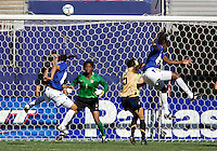 USA's Briana Scurry watches a shot by Brazil's Katia during a 2-0 victory over Brazil in East Rutherford, NJ, Saturday, June 23, 2007.