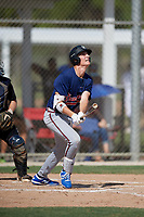 Nolan Schubart (30) hits a home run during the WWBA World Championship at JetBlue Park on October 10, 2020 in Fort Myers, Florida.  Nolan Schubart, a resident of Durand, Michigan who attends Orchard Lake St. Mary's Preparatory School, is committed to Michigan.  (Mike Janes/Four Seam Images)
