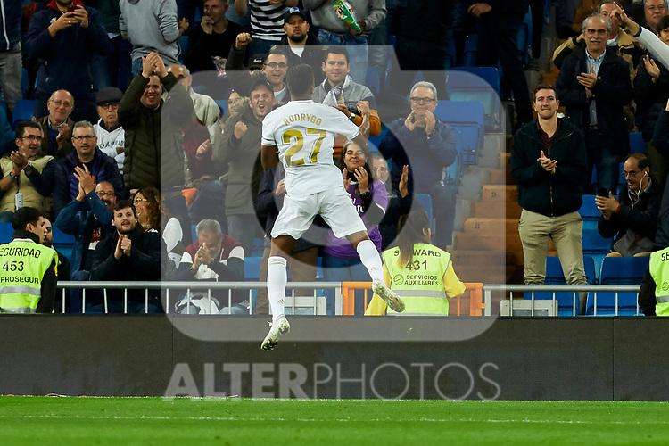 Rodrygo Goes of Real Madrid celebrates goal during La Liga match between Real Madrid and CD Leganes at Santiago Bernabeu Stadium in Madrid, Spain. October 30, 2019. (ALTERPHOTOS/A. Perez Meca)