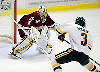 18 October 2009: University of Vermont Catamount forward Chris McCarthy, a Freshman from Collegeville, PA, score his first goal as a Catamount against Boston College Eagle goaltender John Muse, a Junior from East Falmouth, MA action during the second period at Gutterson Fieldhouse in Burlington, Vermont. The Catamounts defeated the Eagles 4-1 to open Vermont's America East hockey season. Mandatory Credit: Ed Wolfstein Photo
