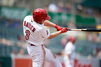 Memphis Redbirds center fielder Harrison Bader (3) swings at a pitch during a game against the Iowa Cubs on May 29, 2017 at AutoZone Park in Memphis, Tennessee.  Memphis defeated Iowa 6-5.  (Mike Janes/Four Seam Images)