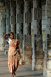 Indian woman inside Sri Minakshi Temple in Madurai. India, Tamil Nadu, Madurai, 2005.  No releases available.