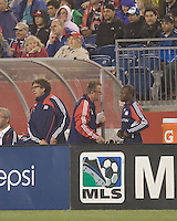 New England Revolution head coach Steve Nicol discusses tactics with second half substitute New England Revolution midfielder Sainey Nyassi (31). The New England Revolution tied the Colorado Rapids, 1-1, at Gillette Stadium on May 16, 2009.