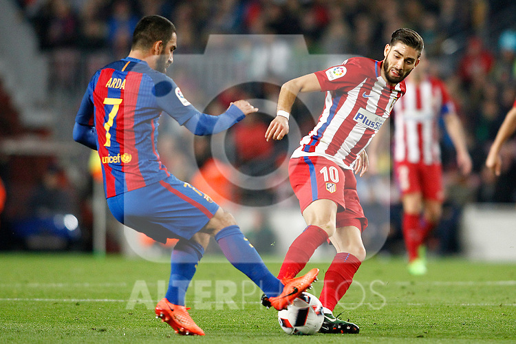 FC Barcelona's Arda Turan (l) and Atletico de Madrid's Yannick Ferreira Carrasco during Spanish Kings Cup semifinal 2nd leg match. February 07,2017. (ALTERPHOTOS/Acero)