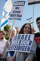 Ca. 100 Menschen demonstrierten am Freitag den 11. Juli 2014 in Berlin auf dem Wittenbergplatz ihre Solidaritaet mit Israel. Sie wandten sich gegen Antisemitismus und Islamismus.<br /> 11.7.2014, Berlin<br /> Copyright: Christian-Ditsch.de<br /> [Inhaltsveraendernde Manipulation des Fotos nur nach ausdruecklicher Genehmigung des Fotografen. Vereinbarungen ueber Abtretung von Persoenlichkeitsrechten/Model Release der abgebildeten Person/Personen liegen nicht vor. NO MODEL RELEASE! Don't publish without copyright Christian-Ditsch.de, Veroeffentlichung nur mit Fotografennennung, sowie gegen Honorar, MwSt. und Beleg. Konto: I N G - D i B a, IBAN DE58500105175400192269, BIC INGDDEFFXXX, Kontakt: post@christian-ditsch.de<br /> Urhebervermerk wird gemaess Paragraph 13 UHG verlangt.]