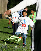 """Participant during a  D.C United clinic in support of first lady Michelle Obama's """"Let's Move"""" initiative on the White House lawn, in Washington D.C. on October 7 2010."""