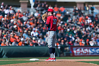 Gonzaga Bulldogs starting pitcher Alek Jacob (37) looks to his catcher for the sign during a game against the Oregon State Beavers on February 16, 2019 at Surprise Stadium in Surprise, Arizona. Oregon State defeated Gonzaga 9-3. (Zachary Lucy/Four Seam Images)