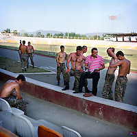 For a couple of hours, a group of soldiers come to the open air stadium of stepanakert for .a training session.