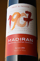 Bottle of 1907 Madiran Fruit and Passion detail of label Madiran France