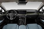 Stock photo of straight dashboard view of 2021 KIA K5 EX 4 Door Sedan Dashboard