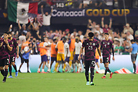 LAS VEGAS, NV - AUGUST 1: Jesus Gallardo #23 of Mexico reacts to the USA goal during a game between Mexico and USMNT at Allegiant Stadium on August 1, 2021 in Las Vegas, Nevada.
