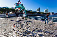 LISBON, PORTUGAL - MARCH 24: People are seen taking pictures of the plastic marine monster in Lisbon, on March 24, 2021. <br /> Lisboa now has a real Marine Monster which represents the increasing volume of plastic in the oceans. The installation was made with 12 tons of used disposable plastic bottles, placed at the Dock of Olivals, along with the Oceanario de Lisboa <br /> (Photo by Luis Boza/VIEWpress via Getty Images)