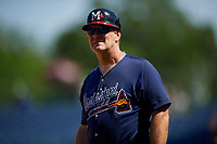 Mississippi Braves manager Chris Maloney (7) during a Southern League game against the Jacksonville Jumbo Shrimp on May 5, 2019 at Trustmark Park in Pearl, Mississippi.  Mississippi defeated Jacksonville 1-0 in ten innings.  (Mike Janes/Four Seam Images)