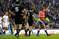 Kieran Read of New Zealand (no. 7) is sent to the sin bin by referee Craig Joubert during the QBE Autumn International match between England and New Zealand at Twickenham on Saturday 16th November 2013 (Photo by Rob Munro)