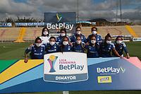 BOGOTA -COLOMBIA,16-10-2020:Jugadoras de Millonarios posan para una foto previo al partido entre Millonarios  y Llaneros por la fecha 1 de LA LIGA FEMENINA BETPLAY DIMAYOR I 2020 jugado en el estadio Estadio Metroplitano de Techo de la ciudad de Bogotá. / Players of Millonarios pose to a photo prior the match between Millonarios and Llaneros for the date 1 <br /> the wome´s league  BETPLAY DIMAYOR I 2020 played at Metropolitano de Techo stadium in Bogota city. Photo: VizzorImage/ Felipe Caicedo / Staff