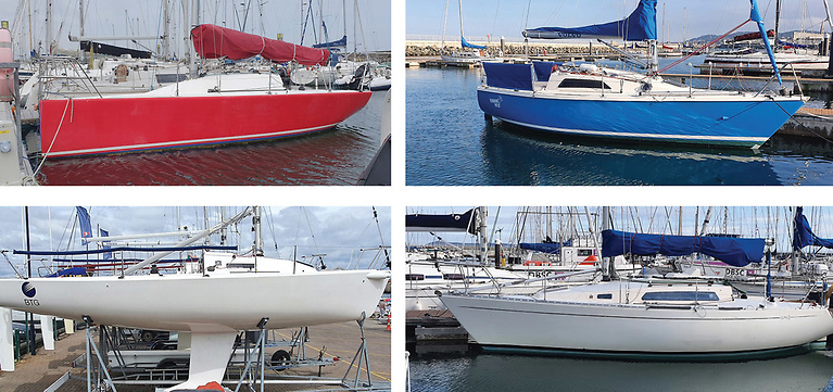 Racing boats for sale from Leinster Boats (clockwise from top left): Corby 25, Impala, Sigma 33 and J80