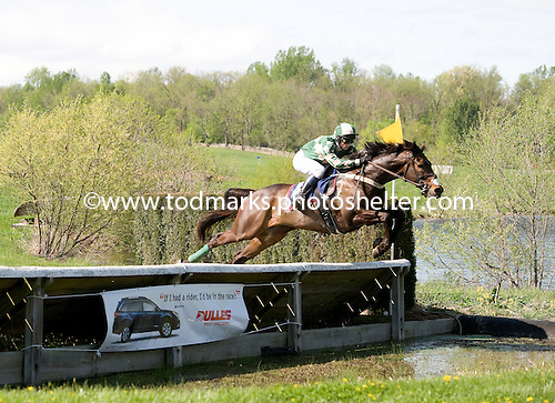 Brands Hatch takes the water jump in the Alfred Hunt Timber Allowance at Middleburg Spring.