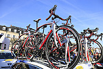 Topsport Vlaanderen Baloise team Merckx bikes on the team car at sign on before the start of the 113th edition of the Paris-Roubaix 2015 cycle race held over the cobbled roads of Northern France. 12th April 2015.<br /> Photo: Eoin Clarke www.newsfile.ie