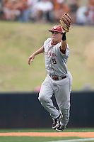 Shortstop Caleb Bushyhead #5 of the Oklahoma Sooners catches a line drive in the bottom of the 9th inning against the Texas Longhorns in NCAA Big XII baseball on May 1, 2011 at Disch Falk Field in Austin, Texas. (Photo by Andrew Woolley / Four Seam Images)