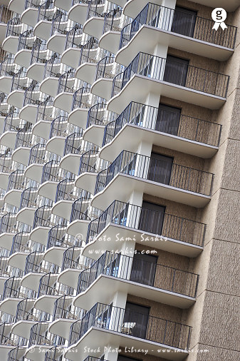 Balconies on a Waikiki Skyscraper, Honolulu, Oahu Island, Usa (Licence this image exclusively with Getty: http://www.gettyimages.com/detail/85985785 )