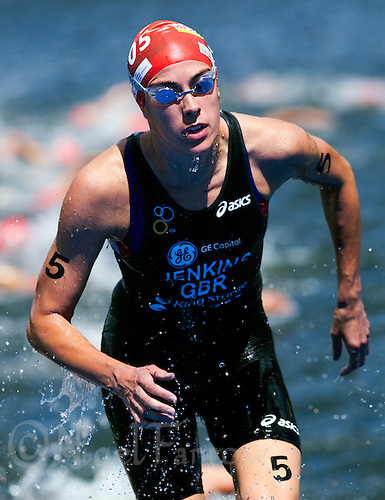 15 AUG 2010 - KITZBUEHEL, AUT - Helen Jenkins exits the water at the end of the first swim lap at the womens ITU World Championship Series triathlon (PHOTO (C) NIGEL FARROW)