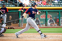 Justin Smoak (22) of the Tacoma Rainiers at bat against the Salt Lake Bees in Pacific Coast League action at Smith's Ballpark on July 9, 2014 in Salt Lake City, Utah.  (Stephen Smith/Four Seam Images)