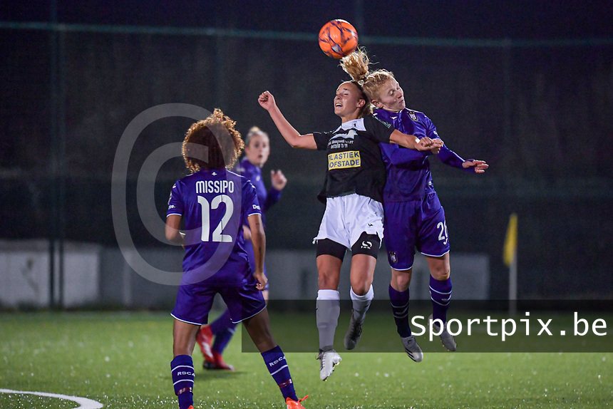 Aalst's forward Daisy Boudewijns (30) and Anderlecht midfielder Charlotte Tisson (20) pictured during a female soccer game between RSC Anderlecht Dames and Eendracht Aalst Ladies  on the fourth matchday of the 2020 - 2021 season of Belgian Womens Super League , Tuesday 13 th of October 2020  in ANDERLECHT , Belgium . PHOTO SPORTPIX.BE | SPP | STIJN AUDOOREN