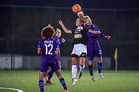 Aalst's forward Daisy Baudewijns (30) and Anderlecht midfielder Charlotte Tisson (20) pictured during a female soccer game between RSC Anderlecht Dames and Eendracht Aalst Ladies  on the fourth matchday of the 2020 - 2021 season of Belgian Womens Super League , Tuesday 13 th of October 2020  in ANDERLECHT , Belgium . PHOTO SPORTPIX.BE | SPP | STIJN AUDOOREN