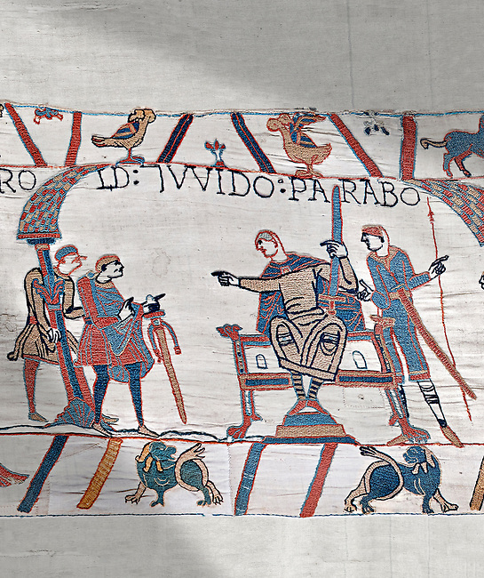 Bayeux Tapestry scene 9:  Guy de Ponthieu, on throne, discussed his with Harold his ransom demands.