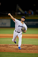 Pensacola Blue Wahoos pitcher Hector Lujan (35) during a Southern League game against the Mobile BayBears on July 25, 2019 at Blue Wahoos Stadium in Pensacola, Florida.  Pensacola defeated Mobile 3-2 in the second game of a doubleheader.  (Mike Janes/Four Seam Images)