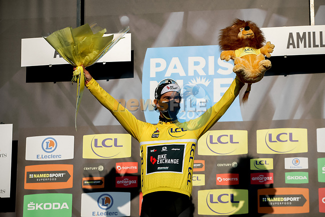 Michael Matthews (AUS) Team BikeExchange takes over the race leaders Yellow Jersey at the end of Stage 2 of Paris-Nice 2021, running 188km from Oinville-sur-Montcient to Amilly, France. 8th March 2021.<br /> Picture: ASO/Fabien Boukla | Cyclefile<br /> <br /> All photos usage must carry mandatory copyright credit (© Cyclefile | ASO/Fabien Boukla)