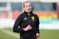 13th March 2021; Dens Park, Dundee, Scotland; Scottish Championship Football, Dundee FC versus Arbroath; Referee Wullie Collum during the warm up before the match