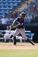 Ozhaino Albies (7) of the Rome Braves breaks his bat as he makes contact with the baseball during the game against the Asheville Tourists at McCormick Field on July 26, 2015 in Asheville, North Carolina.  The Tourists defeated the Braves 16-4.  (Brian Westerholt/Four Seam Images)
