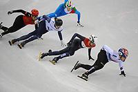 OLYMPIC GAMES: PYEONGCHANG: 10-02-2018, Gangneung Ice Arena, Short Track, Heats 1500m Men, Dajing Wu (CHN), Vladislav Bykanov (ISR), Itzhak de Laat (NED), Daeheong Hwang (KOR), ©photo Martin de Jong