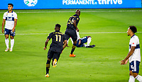 LOS ANGELES, CA - SEPTEMBER 23: Bradley Wright-Phillips #66 of the Los Angeles football club scores his goal and celebrates during a game between Vancouver Whitecaps and Los Angeles FC at Banc of California Stadium on September 23, 2020 in Los Angeles, California.