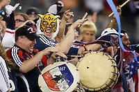 New England Revolution fans celebrate the goal. The New England Revolution defeated Santos Laguna 1-0 during a Group B match of the 2008 North American SuperLiga at Gillette Stadium in Foxborough, Massachusetts, on July 13, 2008.