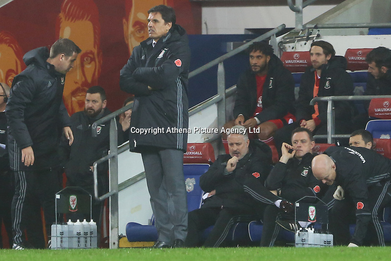 Wales manager Chris Coleman during the International Friendly match between Wales and Panama at The Cardiff City Stadium, Wales, UK. Tuesday 14 November 2017