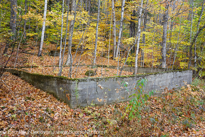 The site of the schoolhouse in the ghost town of Livermore during the autumn months. This was a logging village in the late 19th and early 20th centuries along the Sawyer River Railroad in New Hampshire. The town and railroad were owned by the Saunders family.