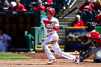 Ryan Jackson (23) of the Springfield Cardinals follows through on his swing during a game against the Springfield Cardinals on April 16, 2011 at Hammons Field in Springfield, Missouri.  Photo By David Welker/Four Seam Images.