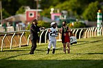 MAY 15, 2021: Kate Hunter explains tactics to Joel Rosario before the Preakness Stakes at Pimlico Racecourse in Baltimore, Maryland on May 15, 2021. EversEclipse Sportswire/CSM