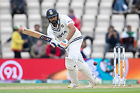 Rohit Sharma of India defends into the on side during India vs New Zealand, ICC World Test Championship Final Cricket at The Hampshire Bowl on 22nd June 2021