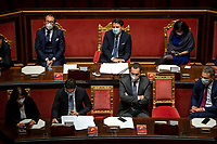 The Italian Premier Giuseppe Conte and the Ministers during the information at the Senate about the government crisis.<br /> Rome(Italy), January 19th 2021<br /> Photo Pool Antonio Masiello/Insidefoto