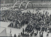 About 2;000 people attended memorial service at Nathan Phillips Square yesterday for Quebec Labor Minister Pierre Laporte; who was murdered by FLQ terrorists last Saturday. Service; conducted by clergymen of seven denominations; was one of many across Canada Funeral for Laporte was in Montreal.<br /> <br /> PHOTO :  Jeff Goode - Toronto Star Archives - AQP