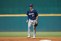 First baseman Bubba Chandler (16) of North Oconee HS in Bogart, GA playing for the Milwaukee Brewers scout team on defense during the East Coast Pro Showcase at the Hoover Met Complex on August 5, 2020 in Hoover, AL. (Brian Westerholt/Four Seam Images)