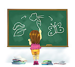 Illustration of girl drawing life cycle of butterfly on chalkboard in classroom