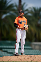 Baltimore Orioles pitcher Jayvien Sandridge (57) gets ready to deliver a pitch during a Florida Instructional League game against the Philadelphia Phillies on October 4, 2018 at Ed Smith Stadium in Sarasota, Florida.  (Mike Janes/Four Seam Images)