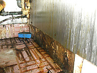 Pictured: An image showing the filthy conditions of The New Slow Boat chinese restaurant in Swansea, Wales, UK.<br /> Re: Health inspectors in Swansea found a series of problems in The New Slow Boat restaurant including dirty and greasy surfaces and floors, mould growing in a fridge fan, and damaged floors and equipment.<br /> It was given a zero score for hygiene but failed to display properly for customers to see.<br /> The New Slow Boat has now improved its score.<br /> Swansea Magistrates Court heard trading standards officers first visited the High Street restaurant in February 2017, and found the filthy conditions.<br /> Much of the flooring in the kitchen was covered in dirt and was damaged, surfaces were covered in grease, the walk-in refrigerator was in a poor condition with a mouldy fan blowing air over food, and microwave ovens were dirty and damaged.<br /> It was given a zero food hygiene rating by the Food Standards Agency.<br /> Another visit in March found some improvements, but inspectors returned in July after diners claimed they had felt unwell after eating there.<br /> The boss of the restaurant, Dong Chen, 29, pleaded guilty to 12 counts of contravening Food Hygiene (Wales) Regulations covering the storage of raw ingredients, the cleanliness of equipment and work surfaces, pest control, the provision of sinks for staff to wash their hands, and the lack of proper hygiene records and procedures when she appeared before magistrates. She also admitted four counts of failing to prominently display a valid food hygiene rating sticker as required by law.